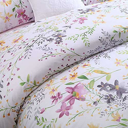 Brandream Blossom Pink Watercolor Floral Bedding Duvet Cover Set King Size 800TC Egyptian Cotton with Pillowcases