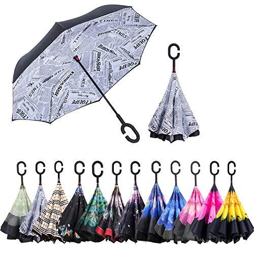 ABCCANOPY umgekehrter Regenschirm, doppelschichtig, winddicht, Teflonabweisend, für Auto und Außenbereich, UPF 50 +, großer Stockschirm mit C-förmigem Griff Zeitungskiosk C