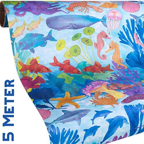 FISCHE Geschenkpapier Meer - 5 Meter Papier Rolle + 9x Geschenkanhänger - BLUE OCEAN Geschenkpapier wie ein Aquarium - Teens & Erwachsene zum Geburtstag, Weihnachten, Urlaub - reißfestes Papier