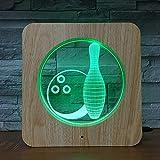 Solo 1 pieza juego de bolos 3D LED luz de noche lámpara de bricolaje lámpara de mesa regalo de color para niños decoración del hogar