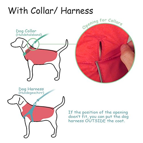 SelfLove Hundemantel aus 100% Wasserdicht Nylon Fleece Futter Jacke Reflektierende Hundejacke Warm Hundemantel Climate Changer Fleece Jacke einfaches An- und Ausziehen(L Schwarz) - 7