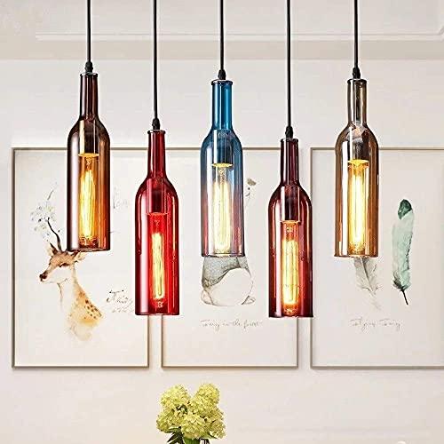 Botella de vino de vidrio de colores creativos Lámpara colgante Loft E27 Lámpara de araña vintage de 5 luces Lámpara de suspensión de restaurante de personalidad Decoración industrial Cafe Bar Accesor