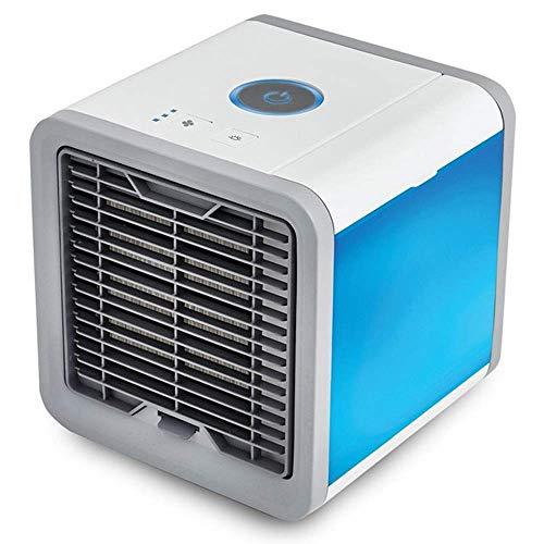 HaoLi Luftkühler, tragbarer 3-in-1-Desktop-Lüfter, USB-Luftbefeuchter und Luftreiniger mit 7-Farben-LED-Leuchten für Reisen im Freien im Büro