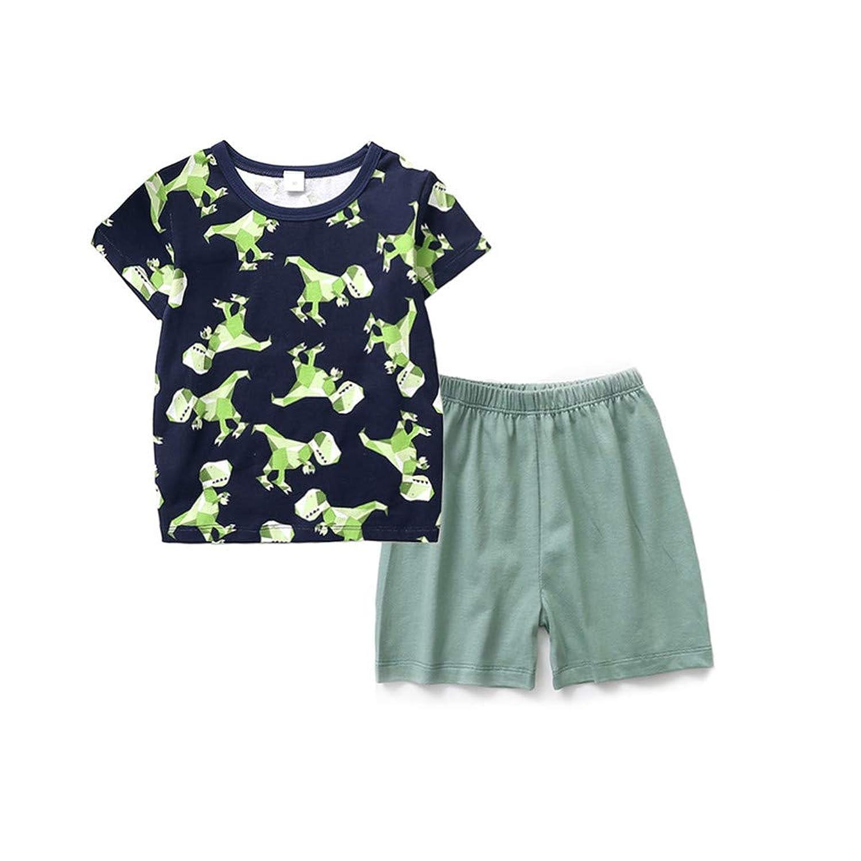 OVERMAL 子供服 ショーツ 半袖 Tシャツ 恐竜 カートゥーン ナイトウェア 人気 肌触り良い 男の子 キッズ 通園 通学 人気 幼児用 部屋着 春夏