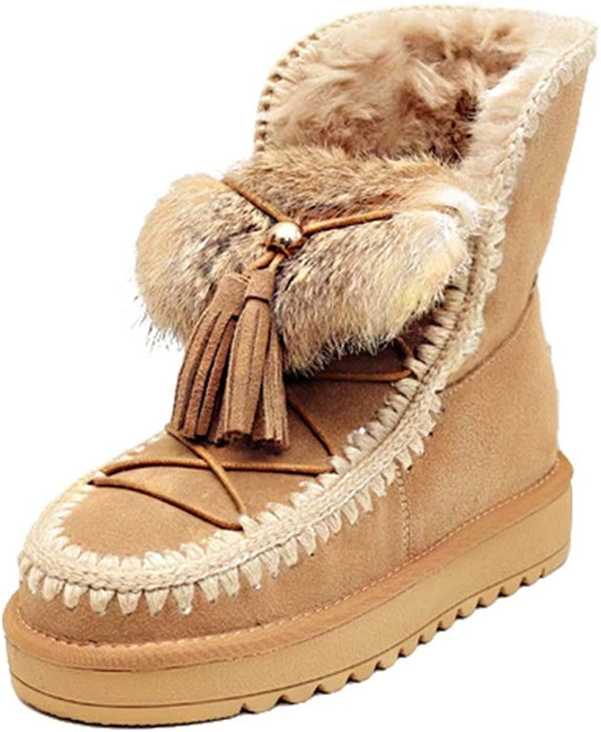 Women's Boots Suede Snow Boots Winter Flat Ankle Boots High-top Casual shoes Warm Platform shoes Fashion Deck shoes (color   Yellow, Size   34)