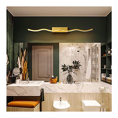 LINGZE Aplique de Pared, luz de tocador de baño LED Regulable, Accesorio de iluminación de baño de Maquillaje antivaho Impermeable, Dorado