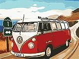 N\A Acrilico Pintura Kit DIY Regalos Kit De Pintura Niños Pinturas con Numeros para Adultos Pintura por Número De Kit Rojo, Bus, Paisaje with Frame