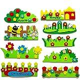 LPxdywlk 9 Sätze Kinder DIY Filz Gartenzaun Handwerk Wandaufkleber Kindergarten Dekorationen Mehrfarbig