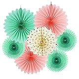 SUNBEAUTY ペーパーファン 飾り付け 誕生日 結婚式のデコレーション 扇子 7個セット