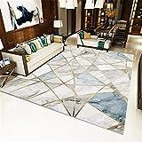 La Alfombra Decoracion de Salones Alfombra con diseño de mármol Azul Rosa Antideslizante fácil de Limpiar alfombras Dormitorio Matrimonio alfombras Pelo Corto Salon 180X250CM