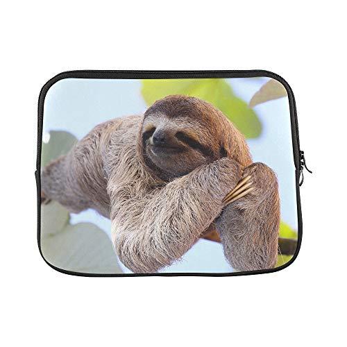 """LIANGWE Diseño Personalizado Happy Sloth Colgando de la Manga del árbol Funda Suave para computadora portátil Bolsa de Piel para Macbook Air 11""""(2 Lados)"""