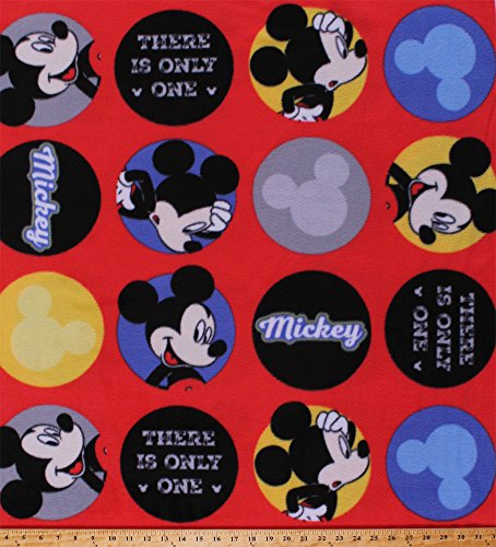 Fleece (not for masks) Mickey Mouse There is Only One Disney Cartoon Characters Names Words Icons Logos Circles on Red Kids Children's Fleece Fabric Print by The Yard (61817-D650710s)