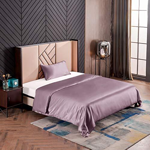THXSILK Seidenbettwäsche Set 2 teilig, Bettbezug 135 x 200 cm und 40 x 80 cm Kissenbezug, Hypoallergen 19 Momme Maulbeerseide Bettwäsche, Ultra Weich und Glatt, Lila