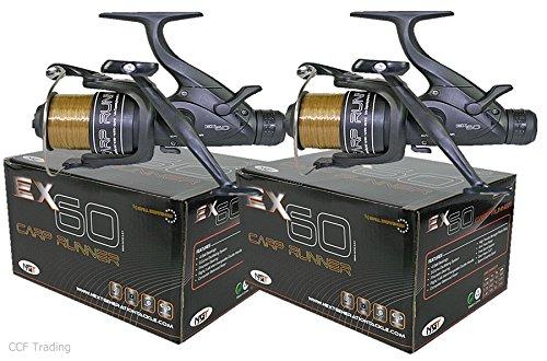 NGT EX60 Karpfen Hecht Friedfischangeln Rollen Freilaufrollen Rolle Geladen Mit 4,5 kg Linie Twin Lenker Rollen, Herausragende Balance Und Quality - 2 Reels