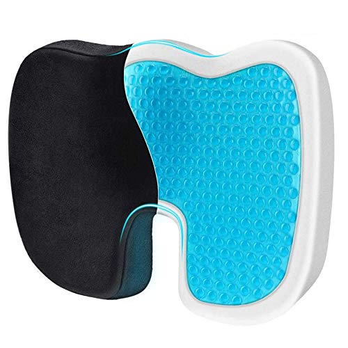 COOLAPA Orthopedic Gel Seat Cushion, Memory foam Cushion for Coccyx Pain, for Back Pain Relief, Tailbone Support, Sciatica, Office Chair, Car Seat, Travel, Driving, Wheelchair and More (Black)