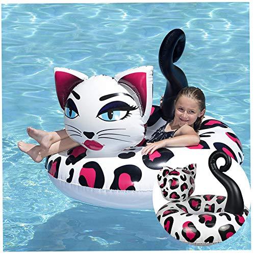 Ewbf Galleggiante Gonfiabile Gigante del Gatto - Salotto di Nuoto di Estate, Giocattolo della Sedia della Piscina, Anello di Nuotata per la Spiaggia di Festa Estiva (Gatto di Leopardo Rosa)
