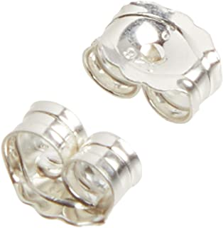 Beadaholique 5005080 Sterling Earring Backs, 4mm, Silver, 12 Piece (Pack of 1)
