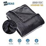 HYSEAS Manta Suave de Microfibra, 180 x 220 cm, Negro, cálida con Tacto de Terciopelo para sofá o Cama, Anti-Arrugas y Transpirable tamaños