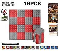 エースパンチ 新しい 16ピースセット グレーと赤 250 x 250 x 50 mm ピラミッド 東京防音 ポリウレタン 吸音材 アコースティックフォーム AP1034