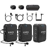 SYNCO G1 (A2) ワイヤレスマイク2.4GHz 無線Lavalierマイクシステム 2つの送信機/ 1つの受信機キットスマホ マイク 50メートルの送信範囲、リアルタイム監視カメラ、デジタル一眼レフカメラレコーダー、PCスマートフォン