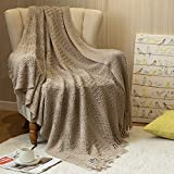 jinchan Throw Blanket Taupe Soft Knit Mesh Tassels Style Indoor Outdoor Travel Warm Coverlet for Sofa Comforter Couch Bed Recliner Living Room Bedroom Decor Nursery Gift Winter 50 x 60 inch