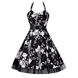 UOKNICE Dresses for Womens, Casual Vintage Polka Halter Floral Sping Retro Rockabilly Cocktail Blouses Tops Dress animal corset polka dot stunning pencil sey grecian shoulderless