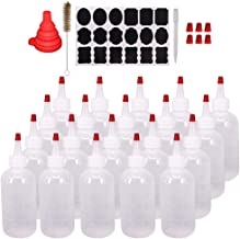 Belinlen 20 Pack 6-Ounce Plastic Squeeze Bottles with 20pcs Red Tip Caps and Measurement - Good for Crafts, Art, Glue, Mul...