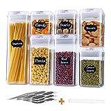 TOROTON Set Contenitori Ermetici per Alimenti, Set di 7 Plastica Contenitori per la Conservazione degli Alimenti con Coperchi, per Conservare Snack di Cereali