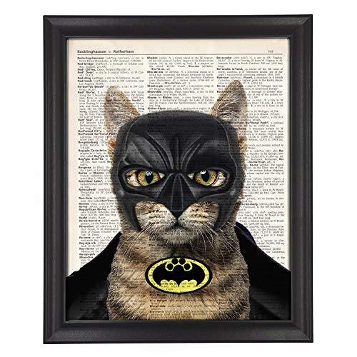 Framed Funny Cat Batman Super Hero Vintage Book Art Print | 9.2*11.2 inch