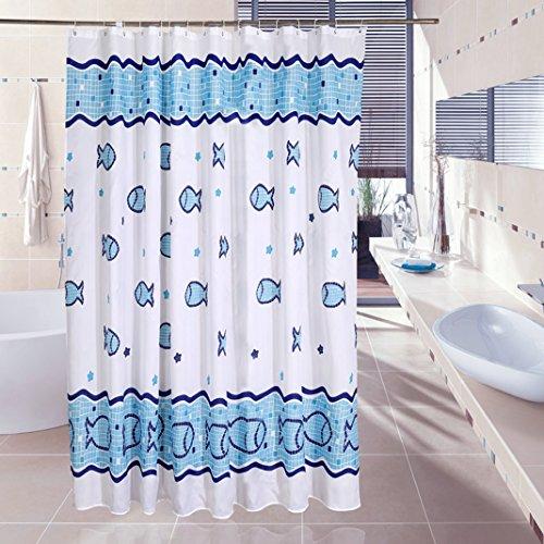 HuaForCity Duschvorhang 240x180 (Breite x Höhe) Textil aus Stoff Anti-Schimmel Wasserdicht Schön Fisch Badezimmer Vorhang Shower Curtain Liner Blauer Seefisch