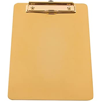 Lovely A4 Edelstahl Klemmbrett Premium Qualit/ät Metall H/ängeklemmbrett als Aktenordner Schreibblock gold