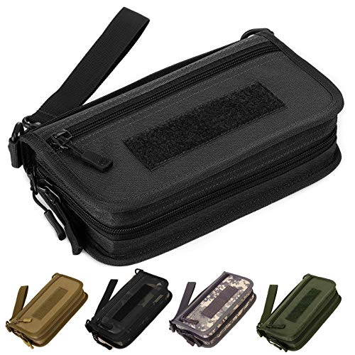 Selighting Monedero Moda Nylon Estilo Militar Táctical Cartera de Embrague Hombre Casual Largo Billetera Grande Cartera de Men con Cremallera para Llaves,Tarjetas,Telefono Movil 6 Pulgadas (Negro)