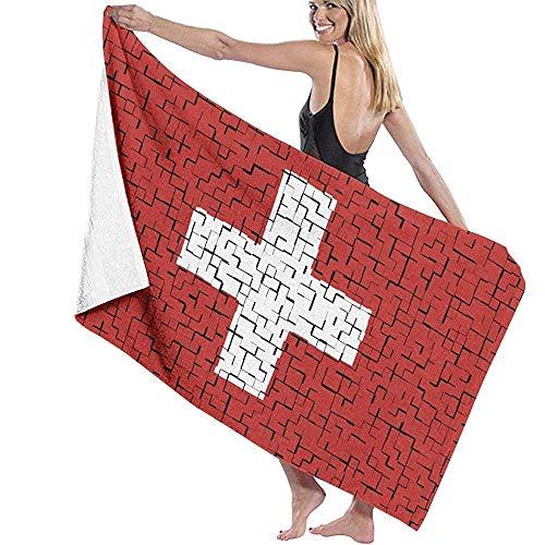 Toalla de Playa Suiza Bandera Rompecabezas Toalla de baño Microfibra Suave Súper Absorbente para Uso Diario Deportes al Aire Libre Viajes Nadar