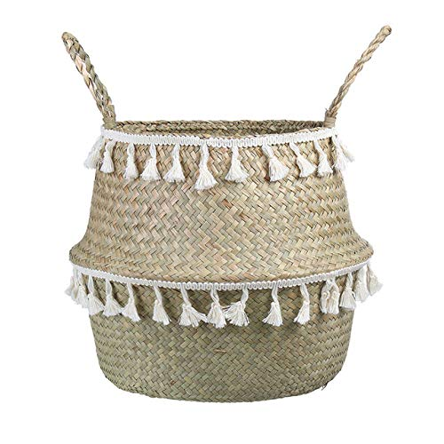 Wasmand LKU Handgemaakte bamboe opbergmand zeewier rieten mand tuin bloempot wasmand container, witte kwast, XS 16x13cm