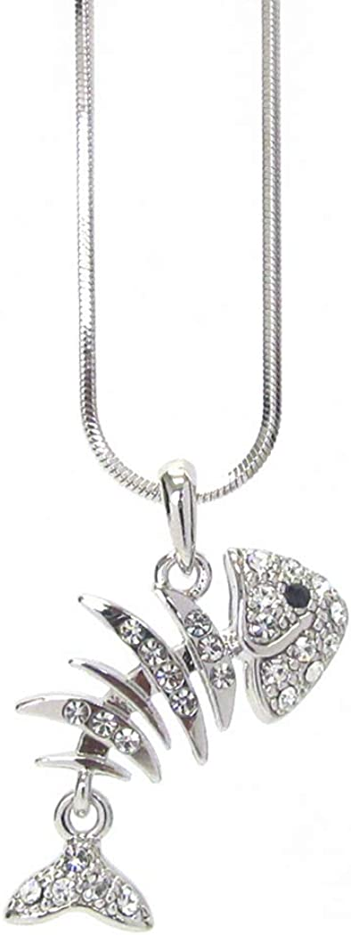 Fashion Jewelry ~ Clear Crystal Skeleton Fish Bone Pendant Necklace for Women Girls Teens Girlfriends Birthday Gifts