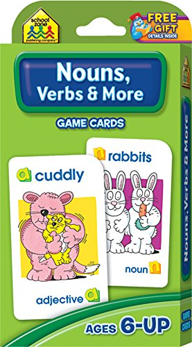 SCHOOL ZONE - Nouns, Verbs & More Game Cards, Ages 6 and Up, Grammar, Parts of Speech, Word-Picture Association, Sentence Structures, Focus, and More