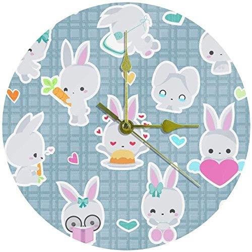 Grande orologio da parete Orologio da cucina Soggiorno Camera da letto Ufficio Bagno Orologio da parete Orologio per bambini Simpatico coniglio Coniglietto Controllo Orologio silenzioso a ticchettio a