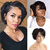 Short Bob Pixie Cut Wigs for Black Women 13×6×1 T Part Lace Front Bob Wig VIPbeauty 150% Density Human Hair HD Lace Bob Wig Pre Plucked With Baby Hair Natural Hairline ( 6 inch)
