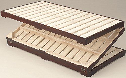 三つ折り天然木桐すのこマットシングルサイズシングルベッドすのこベッド木製ベッドローベッド