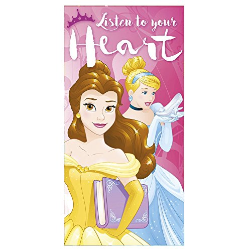 Disney Princess-'Ascolta il tuo cuore' Telo da bagno e mare 140 x 70 cm, cotone muticolore, 140 x 70 x 1 cm