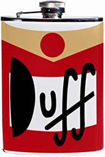 Leak Proof Liquor Hip Flask 7.6 oz Flagon Mug Leather Cover with Duff Beer Print Pocket Container for Discrete Shot Drinking of Whiskey Alcohol Liquor