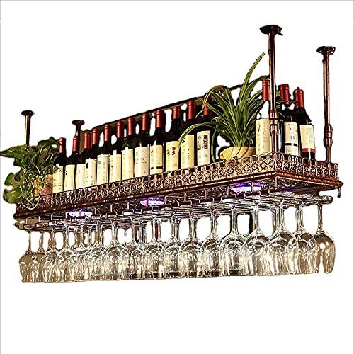 FBBSZSD Botellero al revés |Soporte para Copa de Vino Colgante |Porta Botellas de Vino Vintage |Soporte para Vino montado Colgante rústico |Altura y Ancho Ajustables
