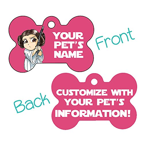 Double Sided Pet Id Tags for Dogs & Cats Personalized for Your Pet (Princess Leia, Bone Shaped)