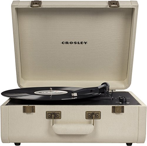 Crosley CR6252A-CR Portfolio Vintage 3-Speed Bluetooth Suitcase Turntable with Built-in Speakers, Crème