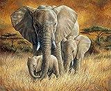 Diamond Painting Kit African Elephant DIY 5D Pintura Diamante Kits Completo por Número Punto de cruz Cristal Rhinestone Bordado Artpara decor de la pared del hogar Square Drill,90x120cm