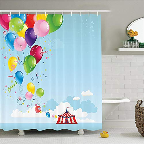 3D Wasserdicht Duschvorhang Zirkus Dekor Set Zirkuszelt Und Luftballons Wolken Horizont Fantasy Party Entertainment Badzubehör 150x180cm