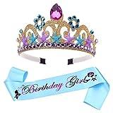 2 piezas Tiara de corona sirena,corona de princesa para vestir,palabra morada con purpurina,para niñas,mujeres,suministros para fiestas de cumpleaños decoraciones