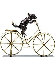 Kare Design Deco object dog met bicycle, grappig decoratief object, hond op gouden fiets, blikvanger voor de woonkamer (H/B/D) 35,5 44 7,5