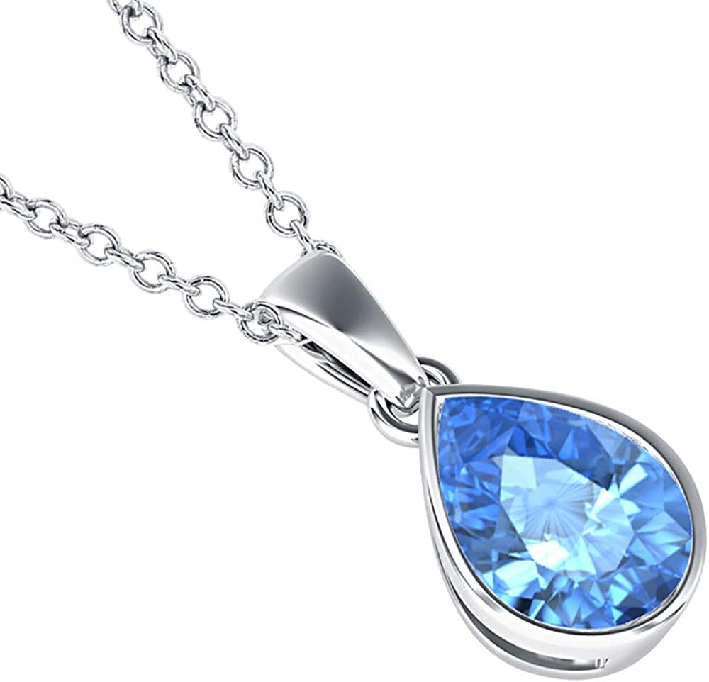 5x7mm to 10x12mm Pear Shaped Blue Topaz Solitaire Bezel Set Pendant Necklace 14k Gold Over .925 Sterling Silver Valentines Days Special for Womens