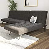 DHP Emily Sectional Futon Sofa with Convertible Chaise Lounger, Grey Linen